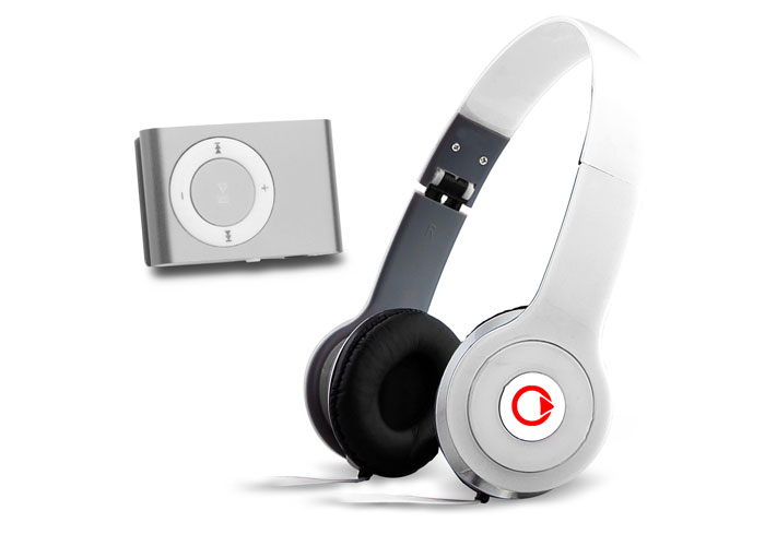Mikado MD-909 Beyaz Kulaklık + Mp3 Oynatıcı