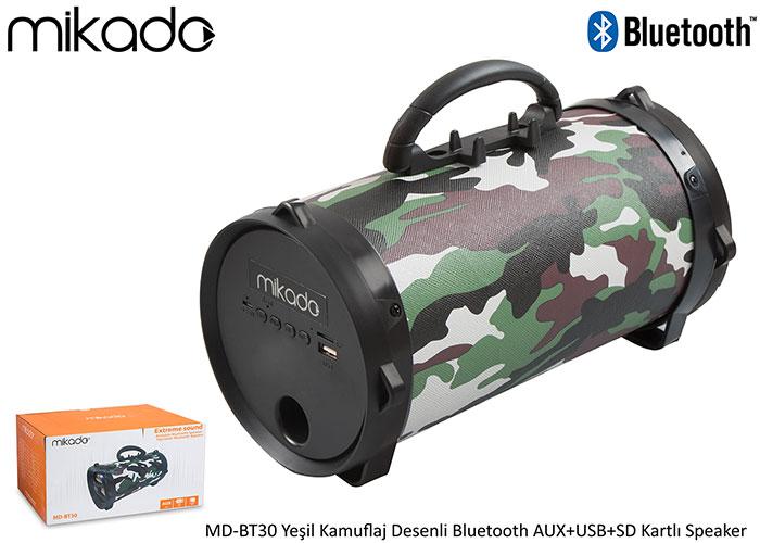 Mikado MD-BT30 Yeşil Kamuflaj Desenli Bluetooth AUX+USB+SD Kartlı Speaker