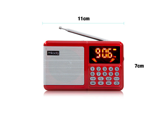 Mikado MD-R38 Red Usb + TF Card + Fm SupportedLED Screen Music Box