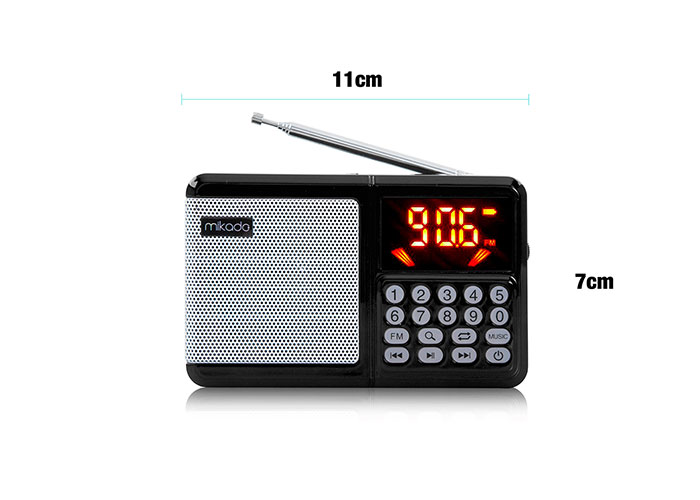 Mikado MD-R38 Siyah TF Kart+FM Led Ekranlı Şarjlı El Radyosu