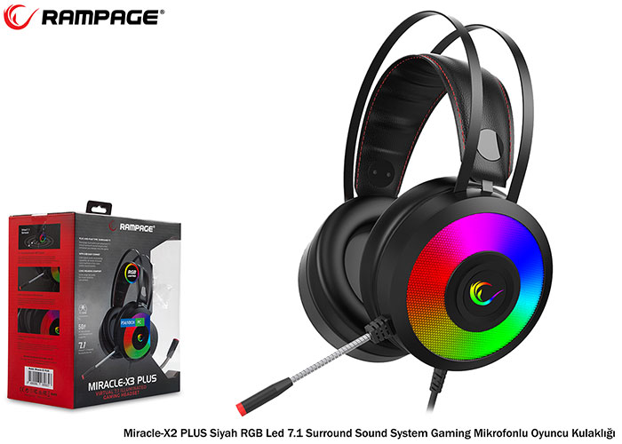 Rampage Miracle-X3 PLUS RGB Led 7.1 Surround Sound System  Gaming  Mikrofonlu Oyuncu Kulaklığı