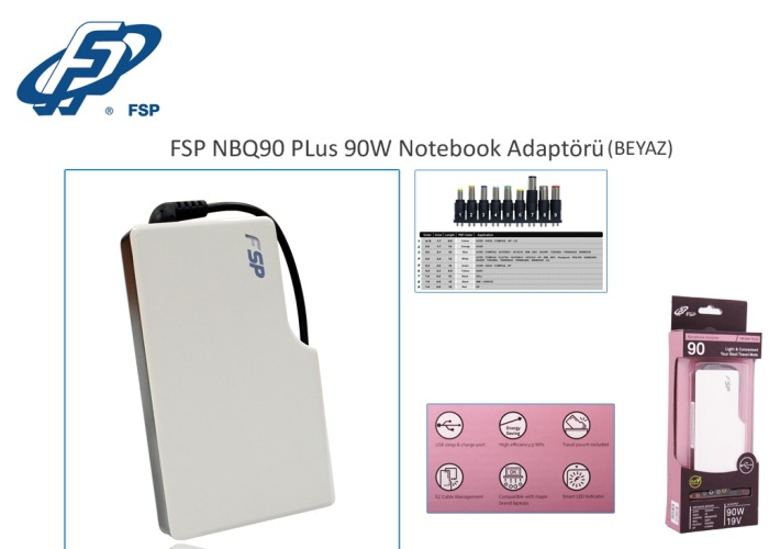 Fsp NBQ90 Plus 90W Beyaz Notebook Universal Adaptör