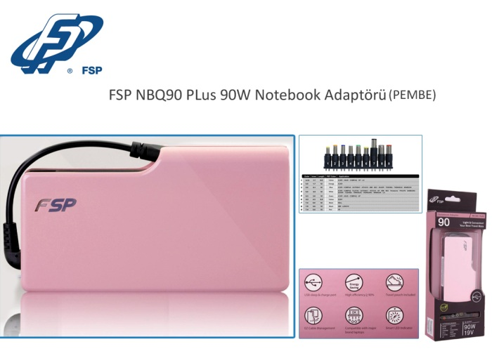 Fsp NBQ90 Plus 90W Pink Notebook Universal Adapter