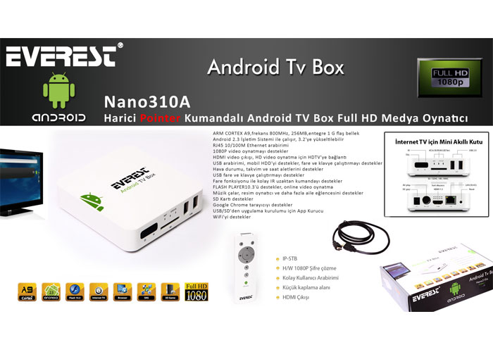 Everest Nano310A Harici Pointer Kumandalı Android TV Box Full HD Medya Oynatıcı
