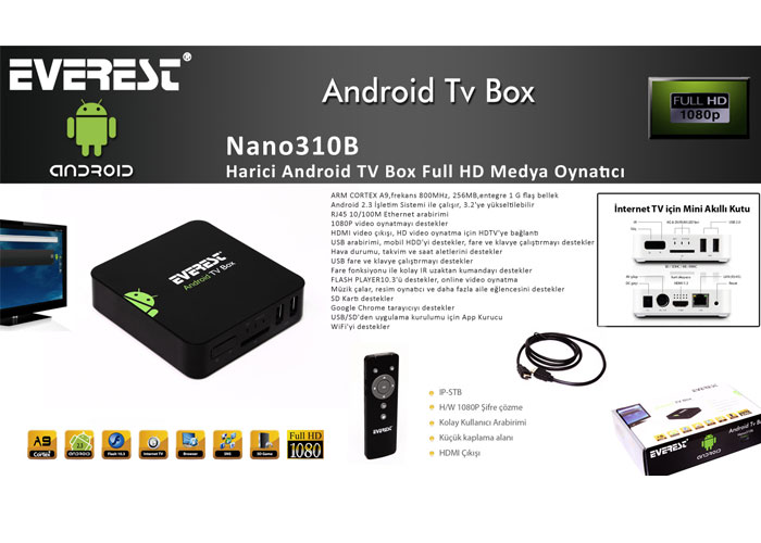 Everest Nano310B Harici Android TV Box Full HD Medya Oynatıcı