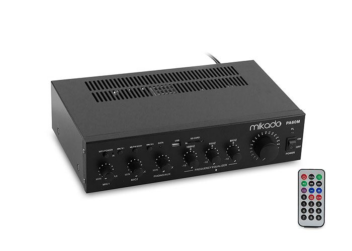 Mikado PA60M 60W Siyah Usb+Sd Destekli Amplifikatör
