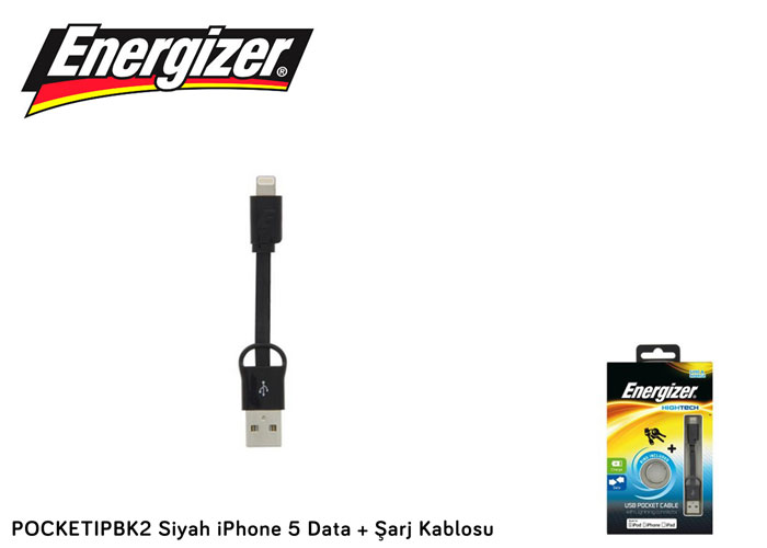 Energizer POCKETIPBK2 Siyah iPhone 5 Data + Şarj Kablosu