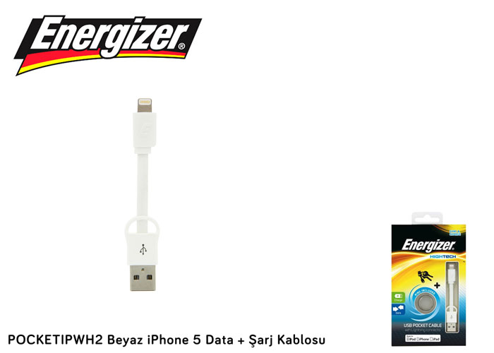 Energizer POCKETIPWH2 Beyaz iPhone 5 Data + Şarj Kablosu