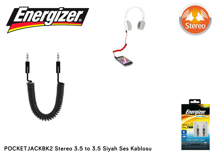 Energizer POCKETJACBK2 Stereo 3.5 to 3.5 Siyah Ses Kablosu