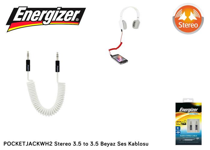 Energizer POCKETJACWH2 Stereo 3.5 to 3.5 Beyaz Ses Kablosu