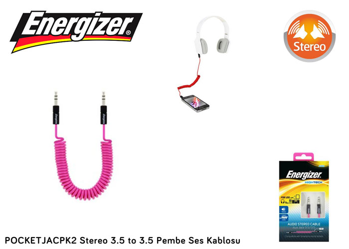 Energizer POCKETJACPK2 Stereo 3.5 to 3.5 Pembe Ses Kablosu