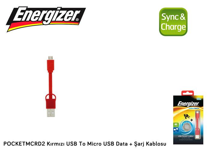 Energizer POCKETMCRD2 Kırmızı USB To Micro USB Data + Şarj Kablosu