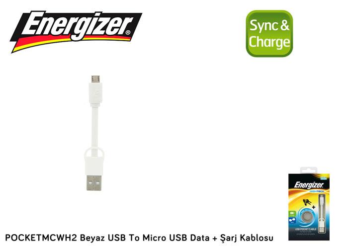 Energizer POCKETMCWH2 Beyaz USB To Micro USB Data + Şarj Kablosu