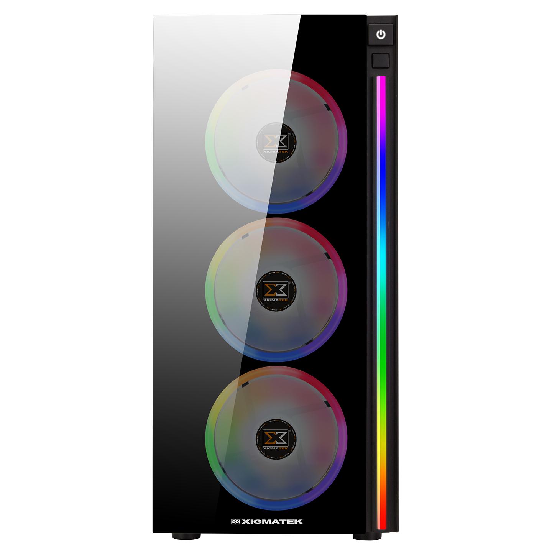 Xigmatek EN42883 POSEIDON 4*12cm Fanlı Tempered Camlı Rainbow Led Şeritli Gaming Oyuncu Kasası