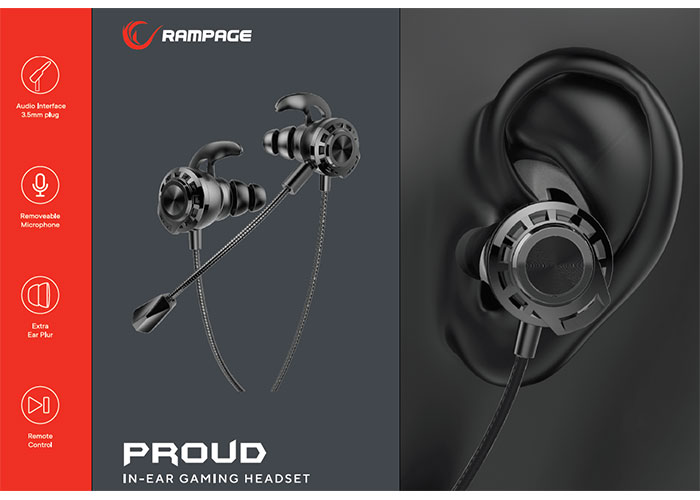 Rampage RM-K36 PROUD 3,5mm Gaming Siyah Kulak İçi Mikrofonlu Kulaklık
