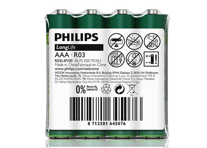 Philips R03L4F/97 Longlife AAA 4lü Kalem Pil