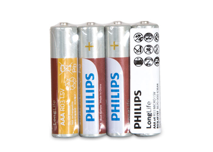 Philips R03L4F/97 Longlife İnce AAA 4lü Pil