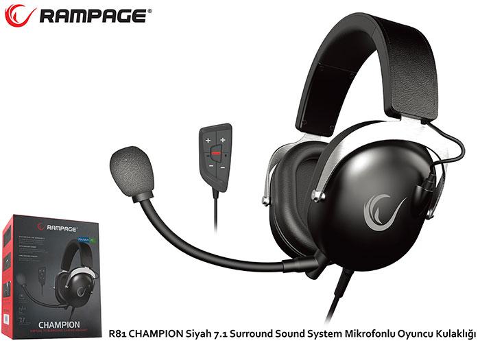 Rampage R81 CHAMPION Siyah 7.1 Surround Sound System Mikrofonlu Oyuncu Kulaklığı