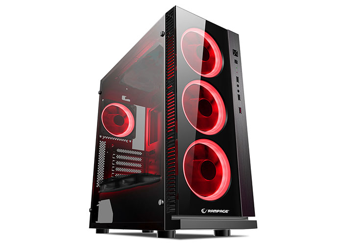 Rampage CARISMA-V1 4 * 12Cm Double Red Fanned Black 1 * Usb3.0 2 * Usb2.0 Glass Windows Gaming Caseasa