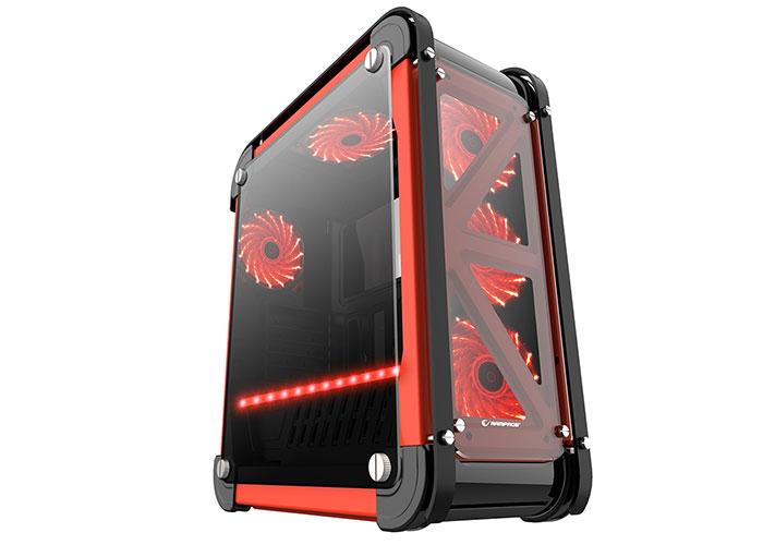 Rampage CASTLE Siyah/Kırmızı 4*12cm RGB Fan 2*Usb3.0 + Kart Okuyucu + Led Şeritli Temper Glass Çelik Gövdeli Oyuncu Kasa