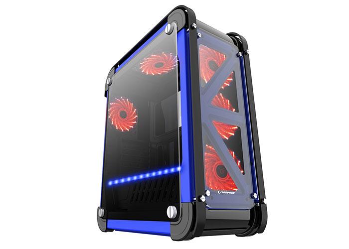 Everest Rampage CASTLE Siyah/Mavi 4*12cm RGB Fan 2*Usb3.0 + Kart Okuyucu + Led Şeritli Temper Glass Çelik Gövdeli Oyuncu