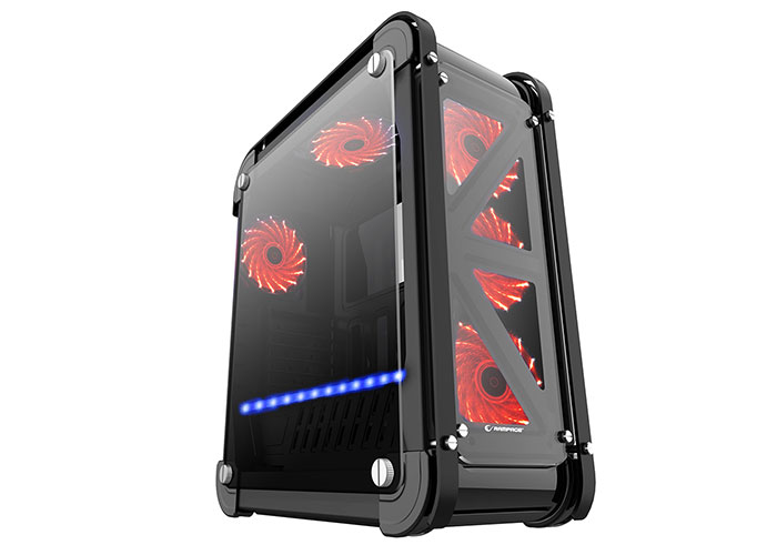Rampage CASTLE Siyah 4*12cm RGB Fan 2*Usb3.0 + Kart Okuyucu + Led Şeritli Temper Glass Çelik Gövdeli Oyuncu Kasa