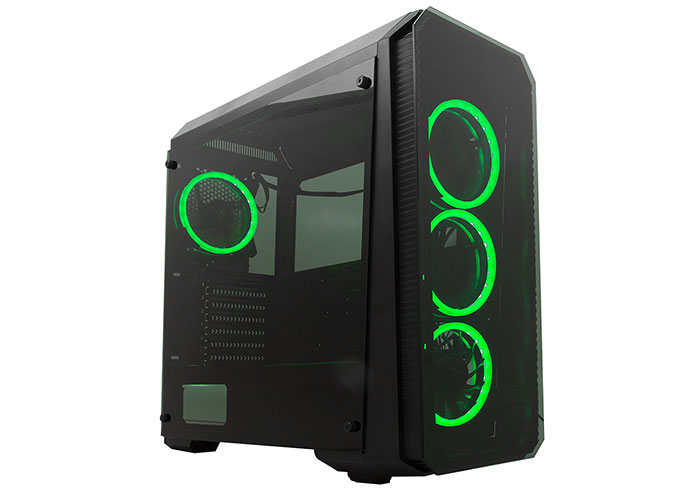 Everest Rampage Falcon-X Siyah Usb3.0 4*RGB Fan Temperli Cam Gaming Kasa