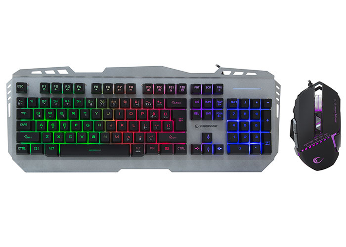 Rampage KM-RX8 Metal Case Rainbow Illuminated Q GamingMultmedia Keyboard and Mouse Set