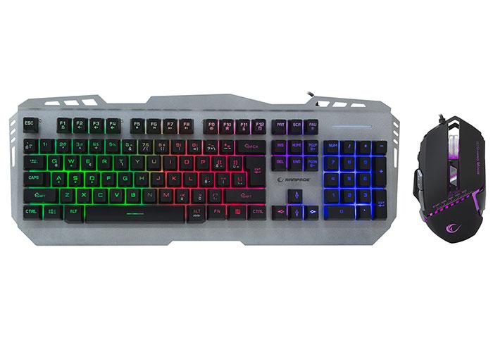 Rampage KM-RX8 Metal Kasa Rainbow Işıklı Q Oyuncu Multmedia Klavye ve Mouse Set