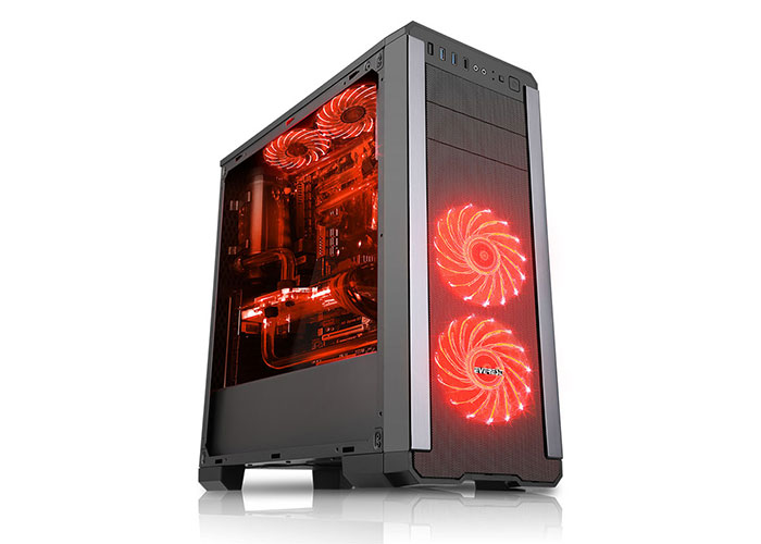 Rampage Pulsar V1 2 * Usb3.0 + 2 * USB 2.0 + 2 * 12cm Led + 1 * 12CM RED Fan With Window Gaming Case