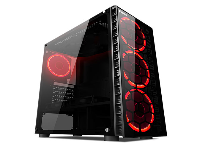 Rampage REDSKY 4 * 12cm Red Led Fan Black 1 * Usb3.0 2 * Usb2.0 Glass Window Gaming Pc Case