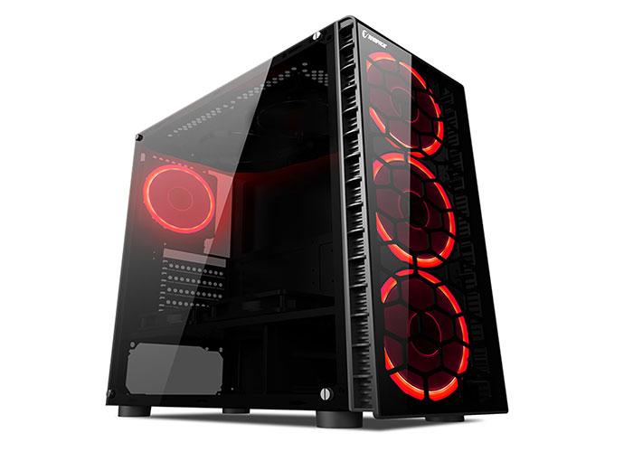 Rampage REDSKY 4*12cm Kırmızı Ledli Fan Siyah 1*Usb3.0 2*Usb2.0 Cam Pencereli Oyuncu Kasa