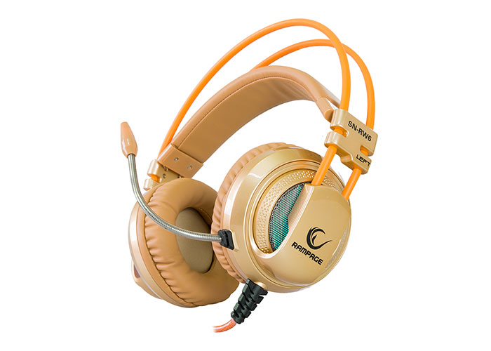 Snopy Rampage SN-RW6 Raptor 7.1 Surround Sound System Vibrated Gaming Silver/Gold Headset