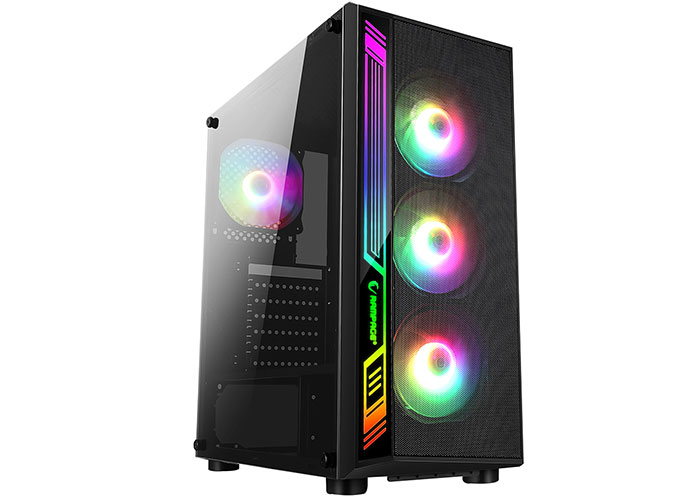 Rampage RAMPART Mesh Panel 600W 80 Plus Bronze Black 4 * 12cm RGB Fan Tempered Glass Gaming Case
