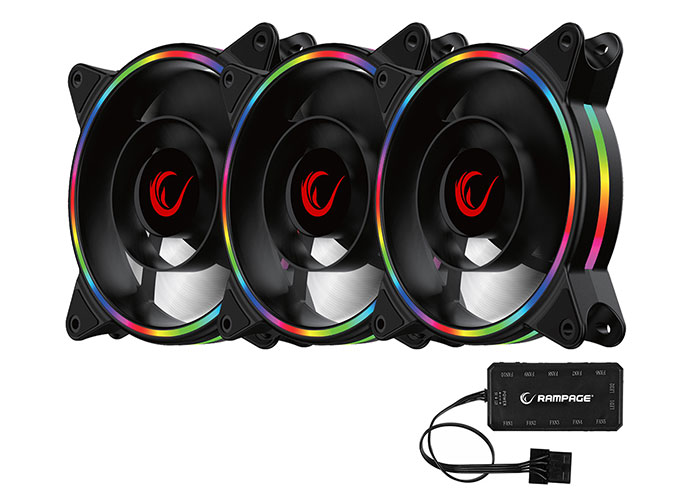 Rampage RB-K12 120*120*25mm ARGB Ledli 1200RPM Gaming Oyuncu Kasa Fan Kiti