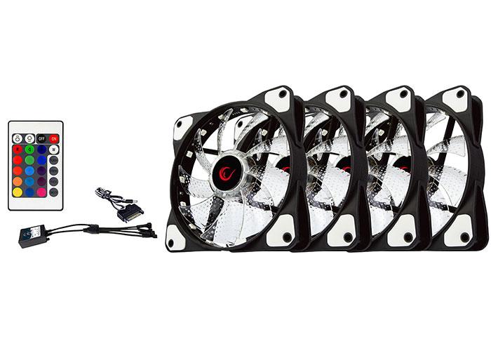 Rampage RB-K5 120*120*25mm RGB Kumandalı 4lü Kasa Fan Seti