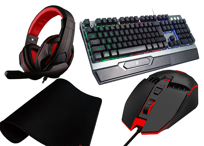 Rampage RM-67 DEMIR Gri Usb Gaming Led Keyboard Italian Layout Multimedia + Headset + Mouse + Mousepad
