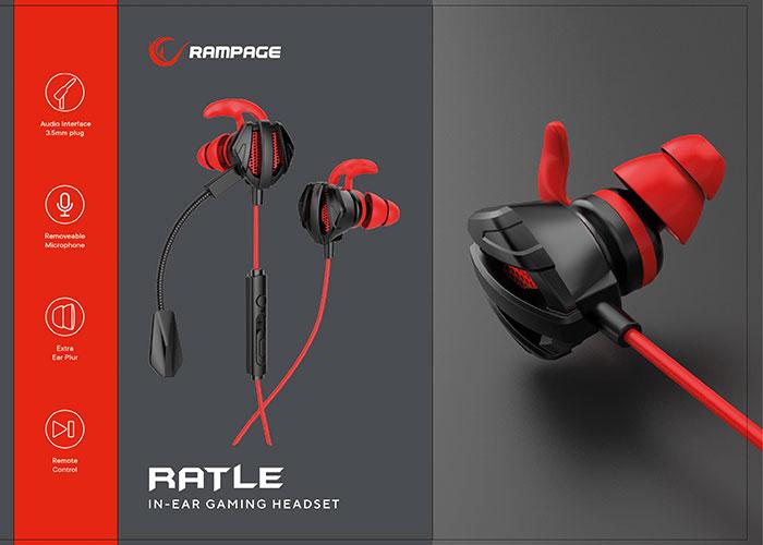 Rampage RM-K26 RATLE 3,5mm Gaming Kırmızı Kulak İçi Mikrofonlu Kulaklık