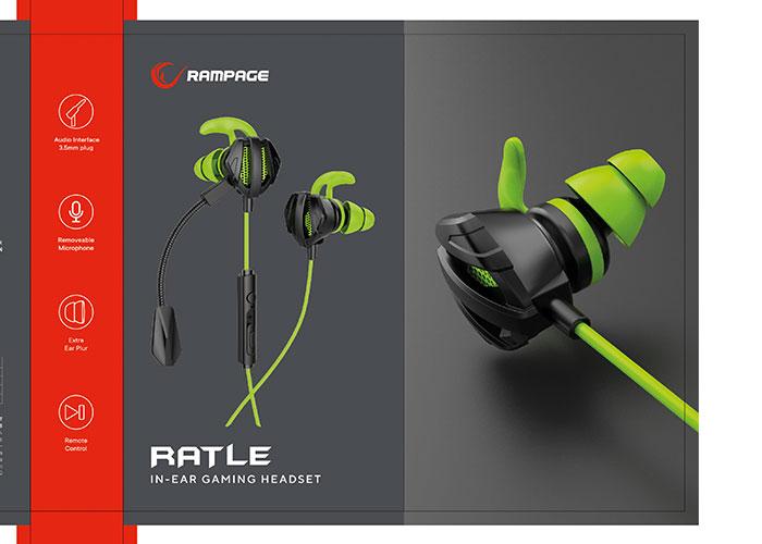 Rampage RM-K26 RATLE 3,5mm Gaming Yeşil Kulak İçi Mikrofonlu Kulaklık
