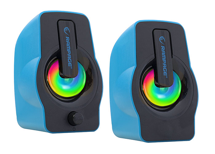 Rampage RMS-G7 FALSETTO 2.0 6 Watt RGB Ledli Mavi Multimedia Gaming USB Speaker