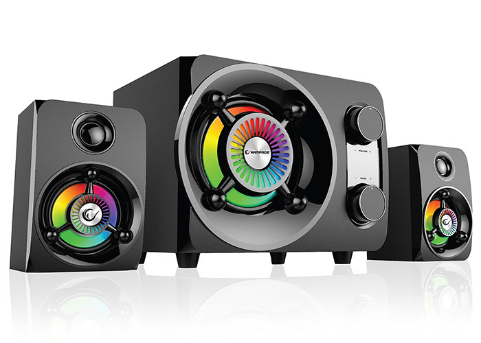 RAMPAGE RMS-G8 2 + 1 25W BLUETOOTH + USB-SD-FM RAINBOW Black LED LIGHT GAMING SOUND SYSTEM