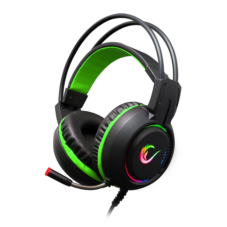 Rampage RM-K25 LUNATIC PRO Siyah/Yeşil USB 7.1 Surround RGB Işık Efektli Gaming Oyuncu Mikrofonlu Kulaklık