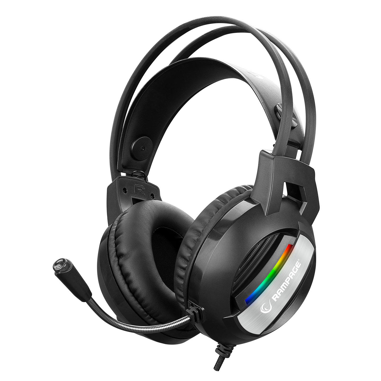 Rampage RM-K71 LINE Siyah 3,5mm + USB Bağlantı Rainbow Aydınlatmalı Oyuncu Mikrofonlu Kulaklık