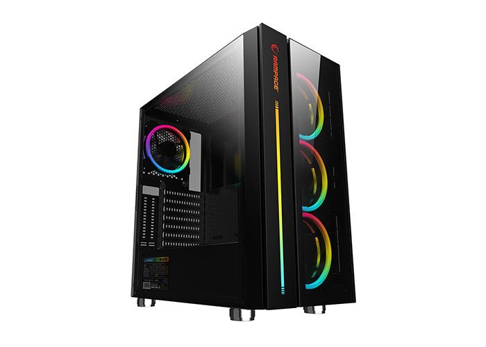 Rampage SCOUT Temper Camlı 600W 80 Plus Bronze Siyah 4*RGB Fan  Control Gaming Oyuncu Kasası