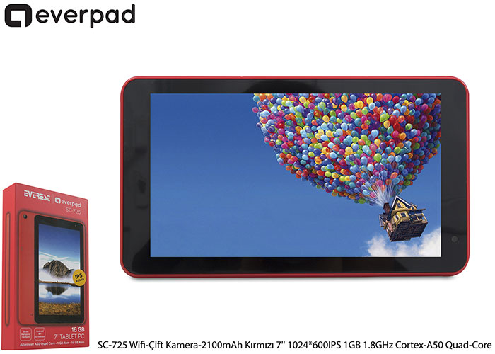 Everest EVERPAD SC-725 Wifi-Çift Kamera-2100mAh Kırmızı 7 1024*600 IPS 1GB 1.8GHz Cortex-A50 Quad-Core 16GB Android 8.1