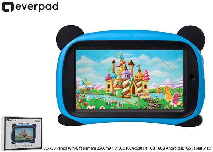 Everest EVERPAD SC-730 Panda Wifi-Çift Kamera 2500mAh MAVİ 7LCD1024x600TN 1GB 16GB Android 8.1Go Tablet