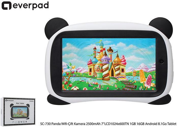 Everest EVERPAD SC-730 Panda Wifi-Çift Kamera 2500mAh Beyaz 7''LCD1024x600TN 1GB 16GB Android 8.1Go Tablet