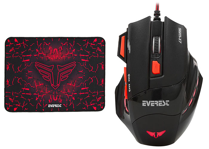 Everest SGM-X7 Usb Black Gaming Mouse Pad and Gaming Mouse