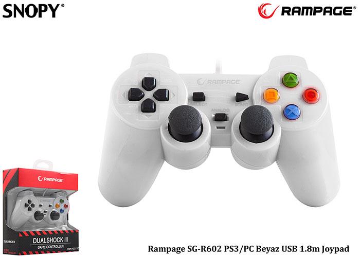 Snopy Rampage SG-R602 PS3/PC Beyaz USB 1.8m Joypad