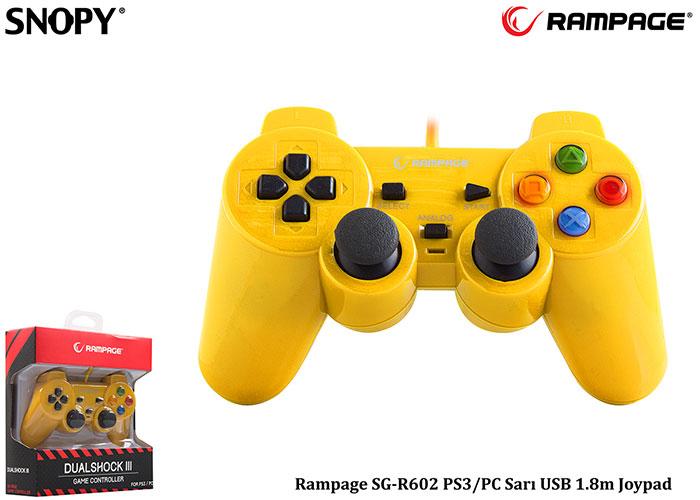 Snopy Rampage SG-R602 PS3/PC Sarı USB 1.8m Joypad